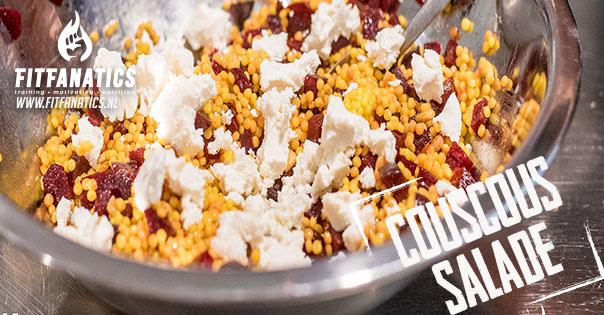 Couscous salade met rode bieten en geitenkaas