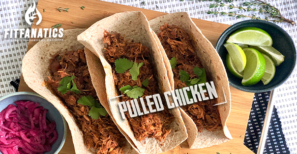 Langzaam gegaarde pulled chicken